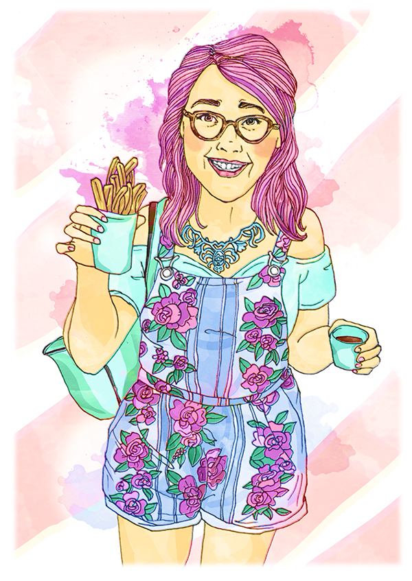Fashion Illustration Portrait of Blogger BodyPosiPanda