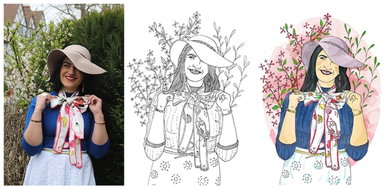 fashion blogger custom illustration process