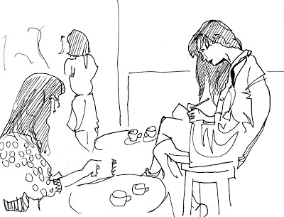 Rachel de Ste Croix sketching Susie Bubble by Jenny Robbins