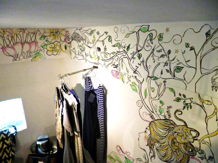 mural in fashion boutique, phnom penh