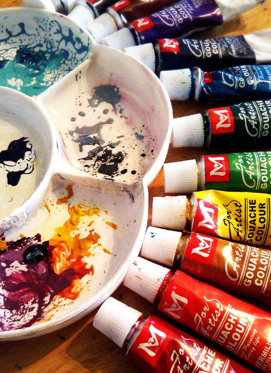 Gouache paints and palette