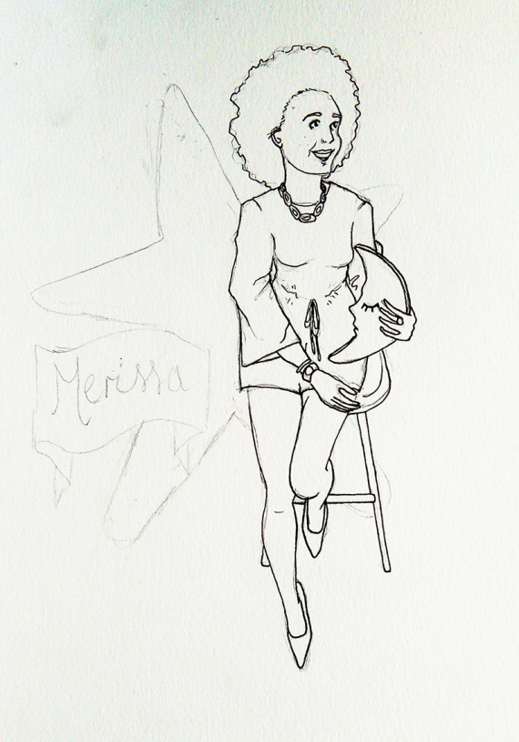 fashion illustration in process - ink outline
