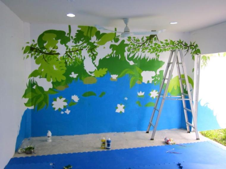 Songsaa playroom mural in progress - blues and greens