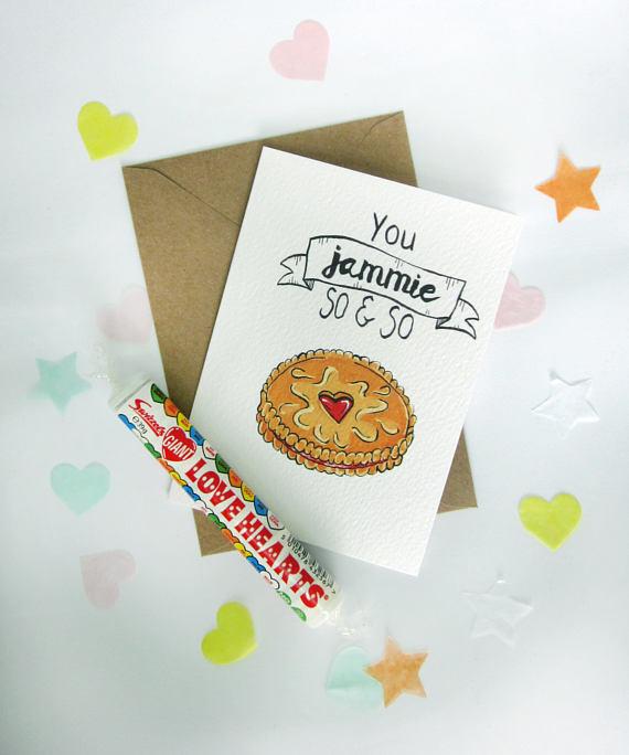 Jammie Dodger Illustrated Greeting Card Design Flatlay