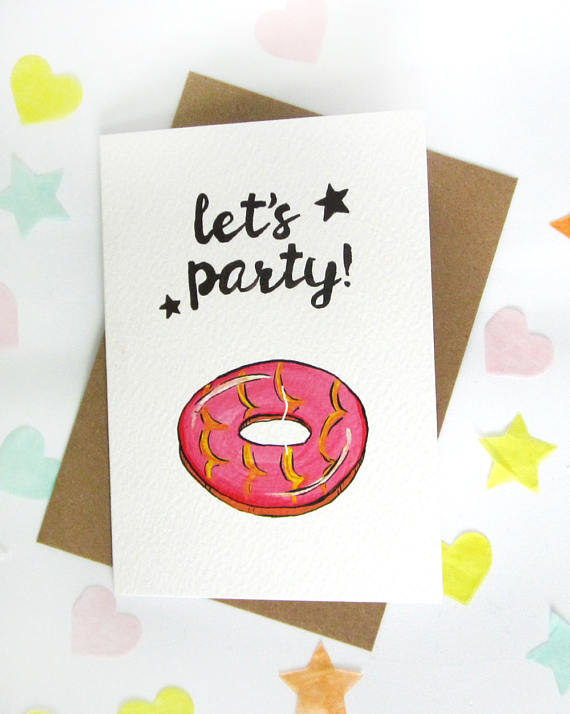 Party Ring Biscuit Illustration Greeting Card Design Flatlay